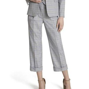 Tahari Plaid Cropped Pleated Mid-Rise Grey Blue